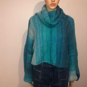 Free people blue combo sweater size med/large